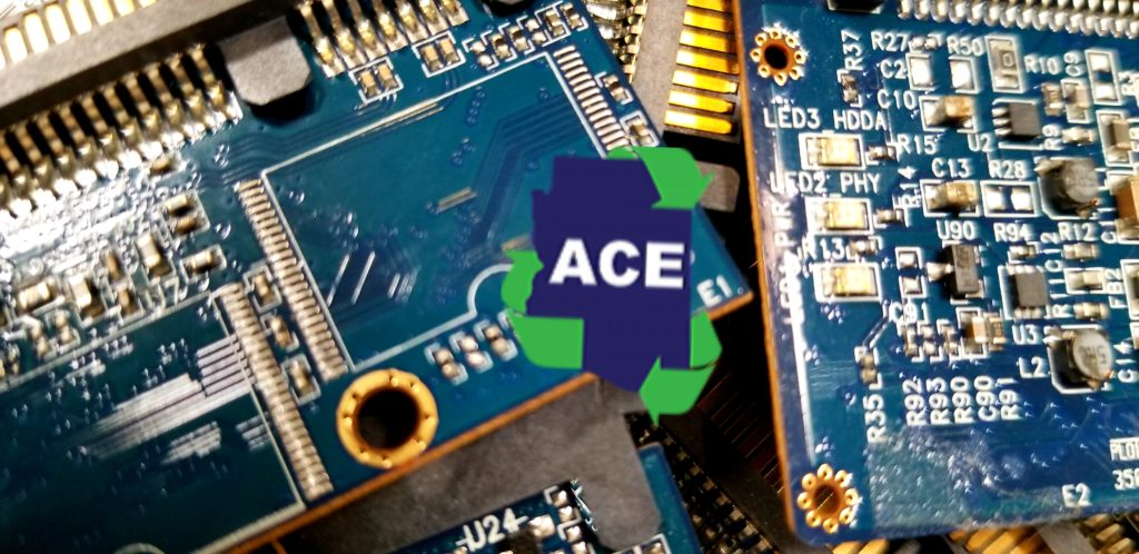 ACE Recycling is able to recycle most electronics.  Recycled electronics contain metals, as can be seen in these boards.